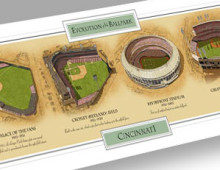 All four Cinci ballparks in one print!