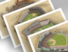 thumbnail of all 4 Boston ballparks in individual 13x19 prints