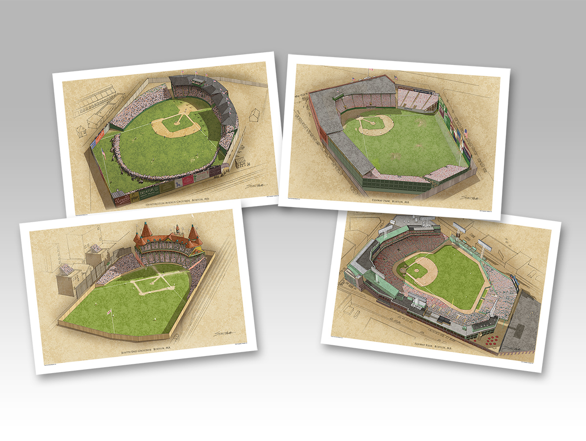 all 4 Boston ballparks in individual 13x19 prints