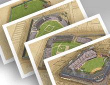 thumbnail of all 4 Brooklyn ballparks in individual 13x19 prints