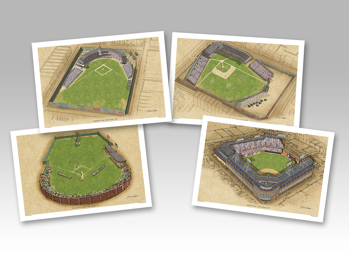 all 4 Brooklyn ballparks in individual 13x19 prints