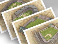 thumbnail of 4 Cubs ballparks in individual 13x19 prints
