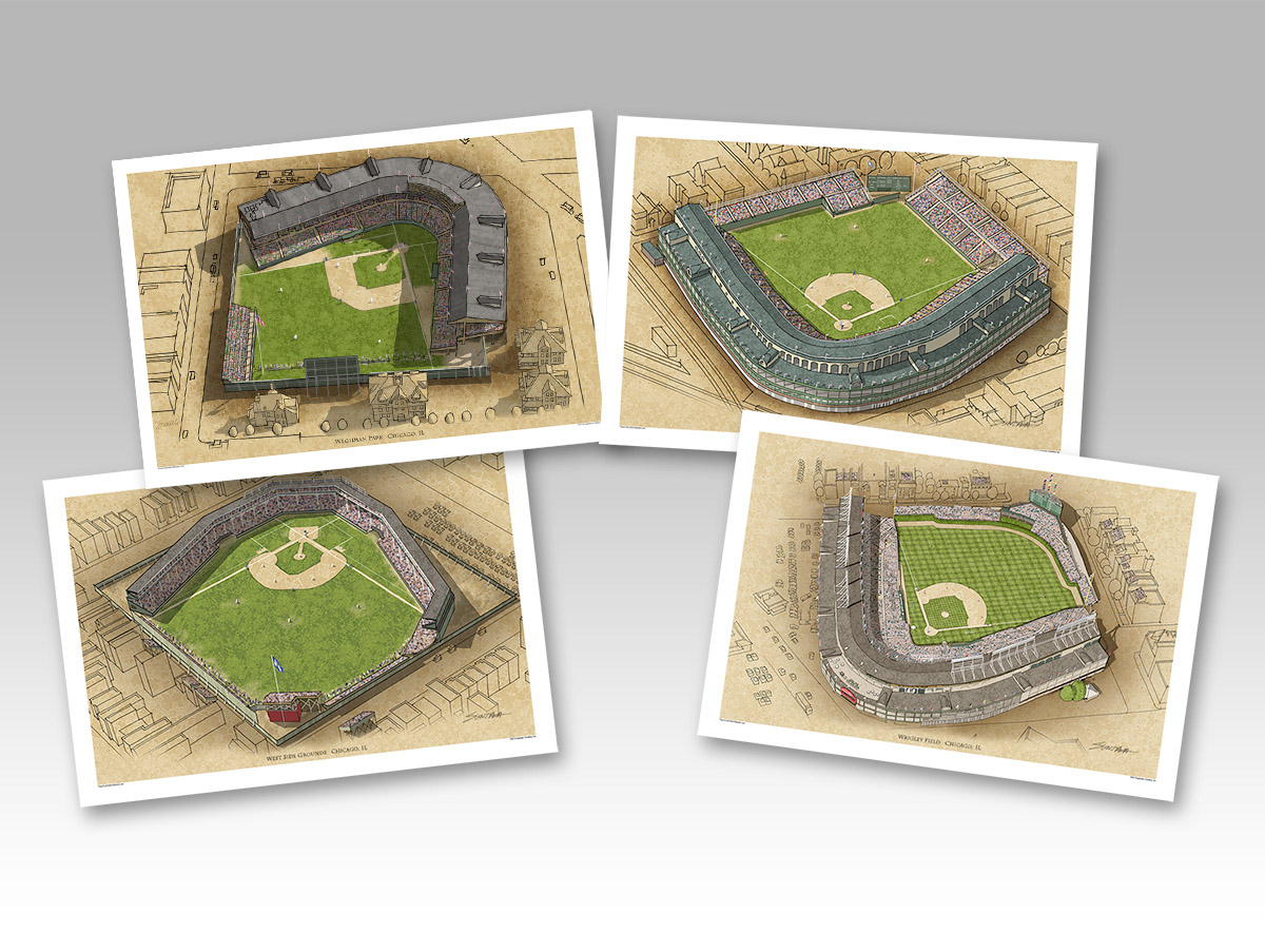 All 4 Cubs ballparks in individual 13x19 prints