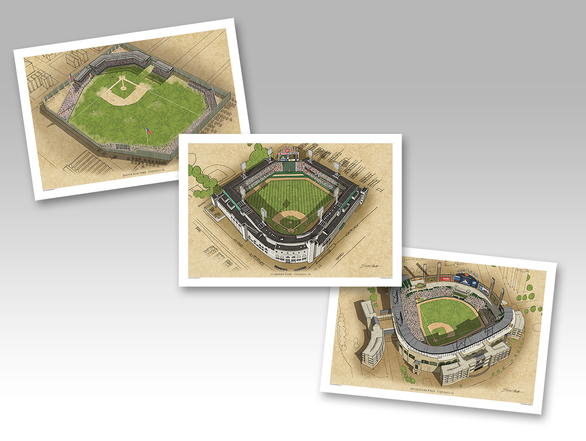 all 3 White Sox ballparks in individual 13x19 prints