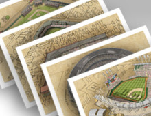 thumbnail of all 5 Cleveland ballpark 13x19 prints
