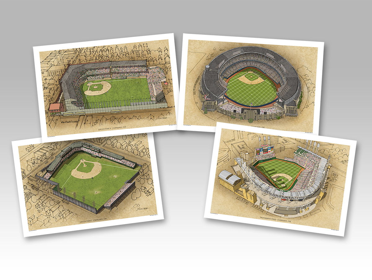4pack of Cleveland ballparks