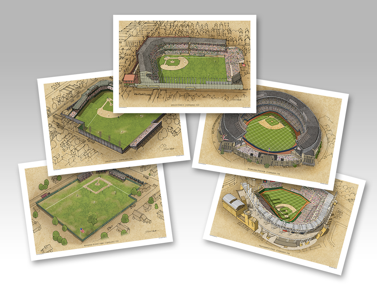 all 5 Cleveland ballpark 13x19 prints