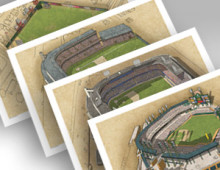 thumbnail of all 4 Detroit ballparks in individual 13x19 prints