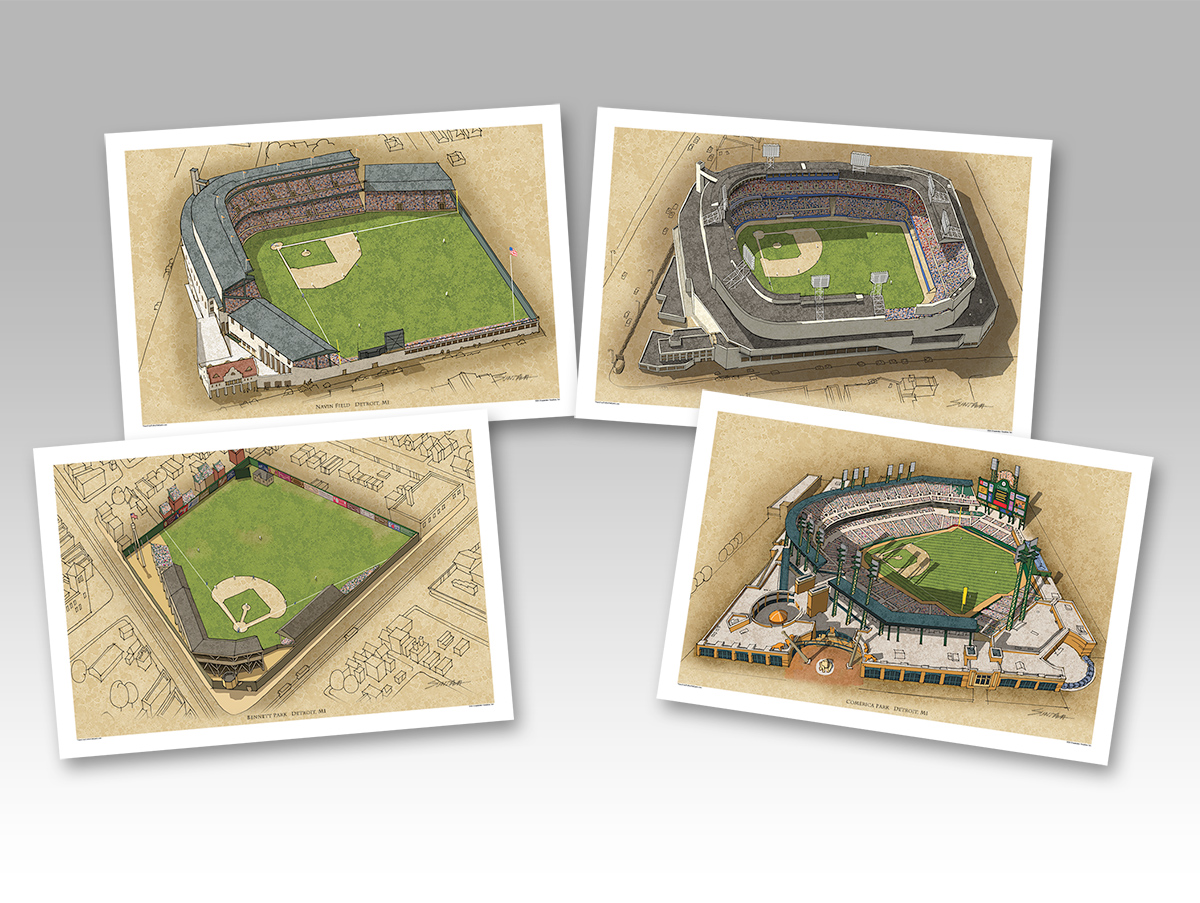 all 4 Detroit ballparks in individual 13x19 prints