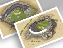 thumbnail of both Kansas City ballparks in individual 13x19 prints