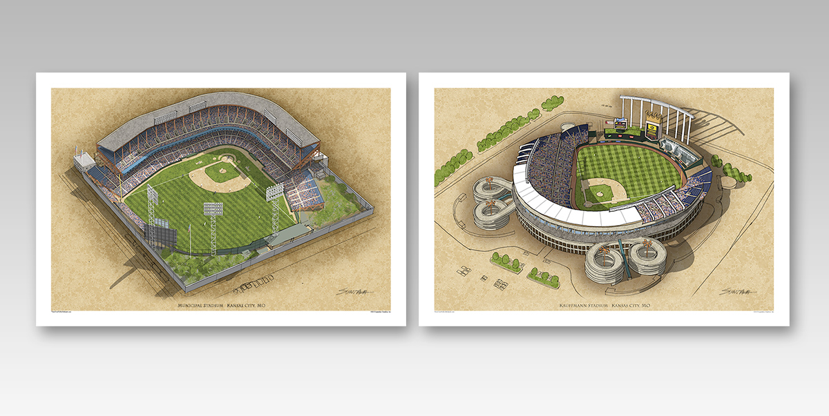 both Kansas City ballparks in individual 13x19 prints