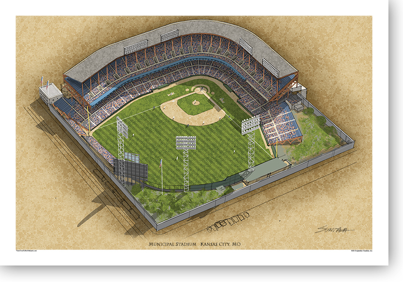 13x19 print of Kansas City Municipal Stadium