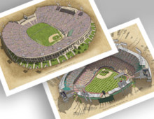 thumbnail of both Dodger ballparks in individual 13x19 prints