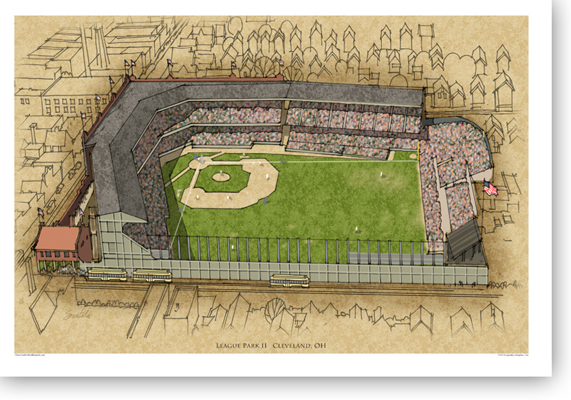 13x19 print of League Park signed by the artist