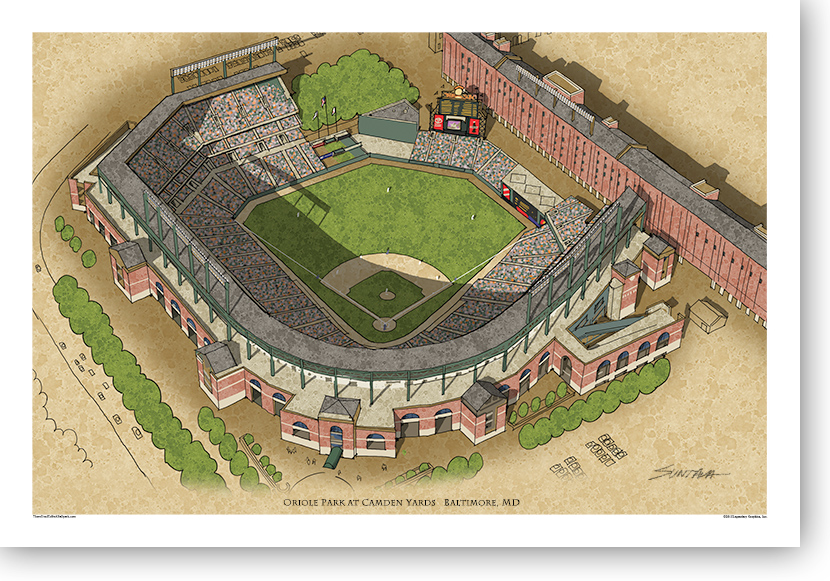 13x19 print of Oriole Park at Camden Yards