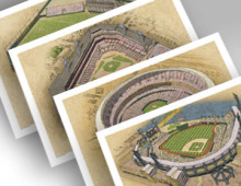 thumbnail of all 4 Pittsburgh ballparks in individual 13x19 prints