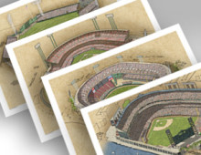 thumbnail of all 4 San Francisco ballparks in individual 13x19 prints