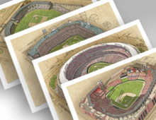 thumbnail of all 4 St. Louis ballparks in individual 13x19 prints