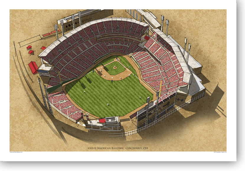 13x19 print of aerial view of Great American Ballpark