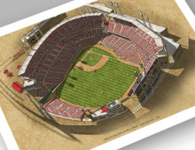 thumbnail of 13x19 print of aerial view of Great American Ballpark