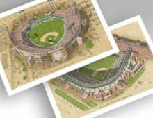 thumbnail of Memorial Stadium and Camden Yards in individual 13x19 prints