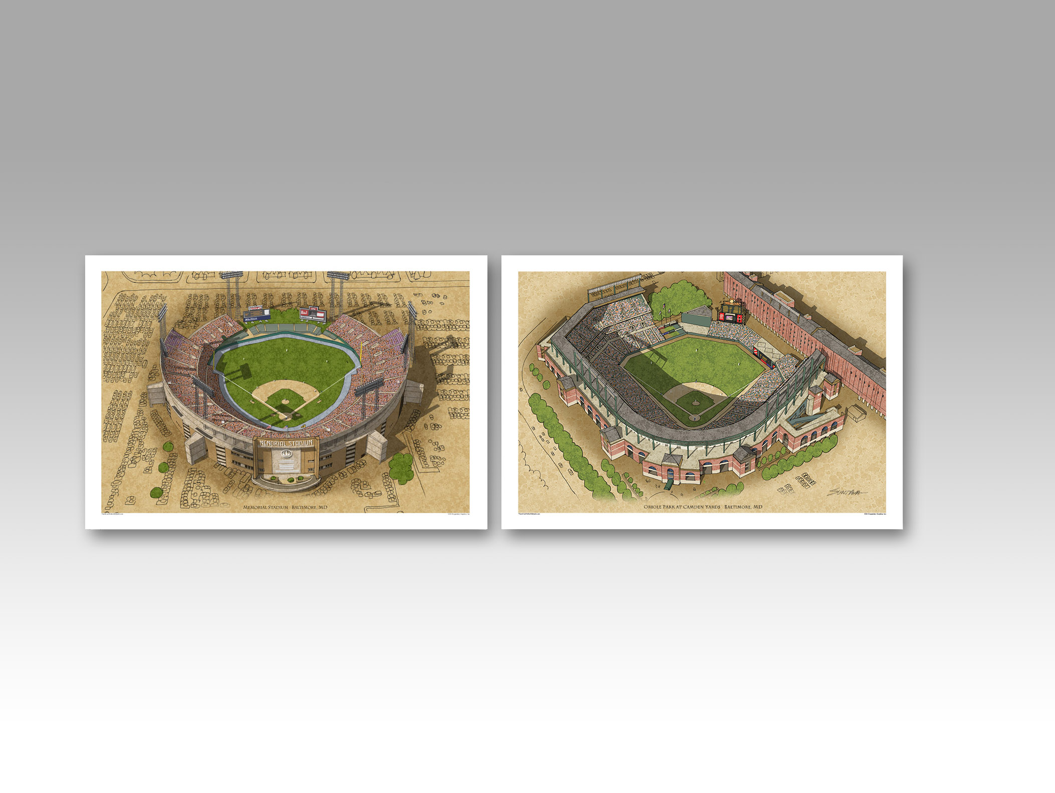 Memorial Stadium and Camden Yards in individual 13x19 prints