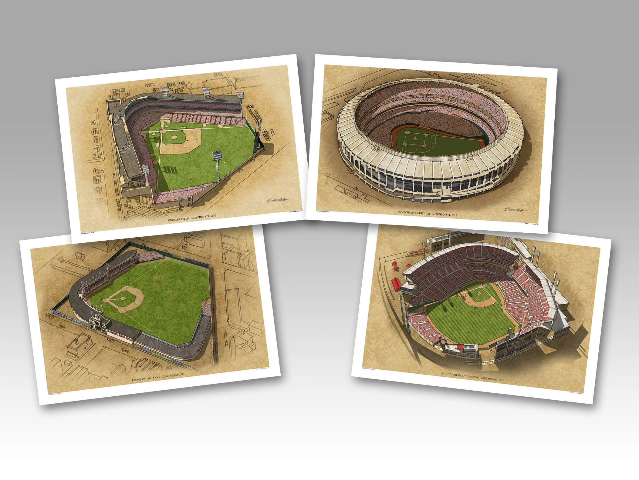 All 4 Cincinnati ballparks on individual 13x19 prints