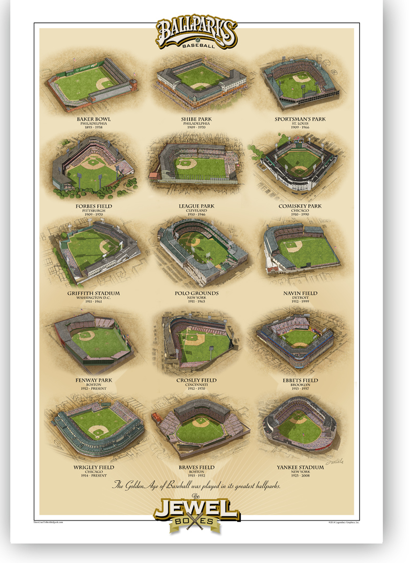 13x19 print featuring 15 classic ballparks.