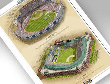 thumbnail of print featuring Arlington Stadium and Globe Life Park