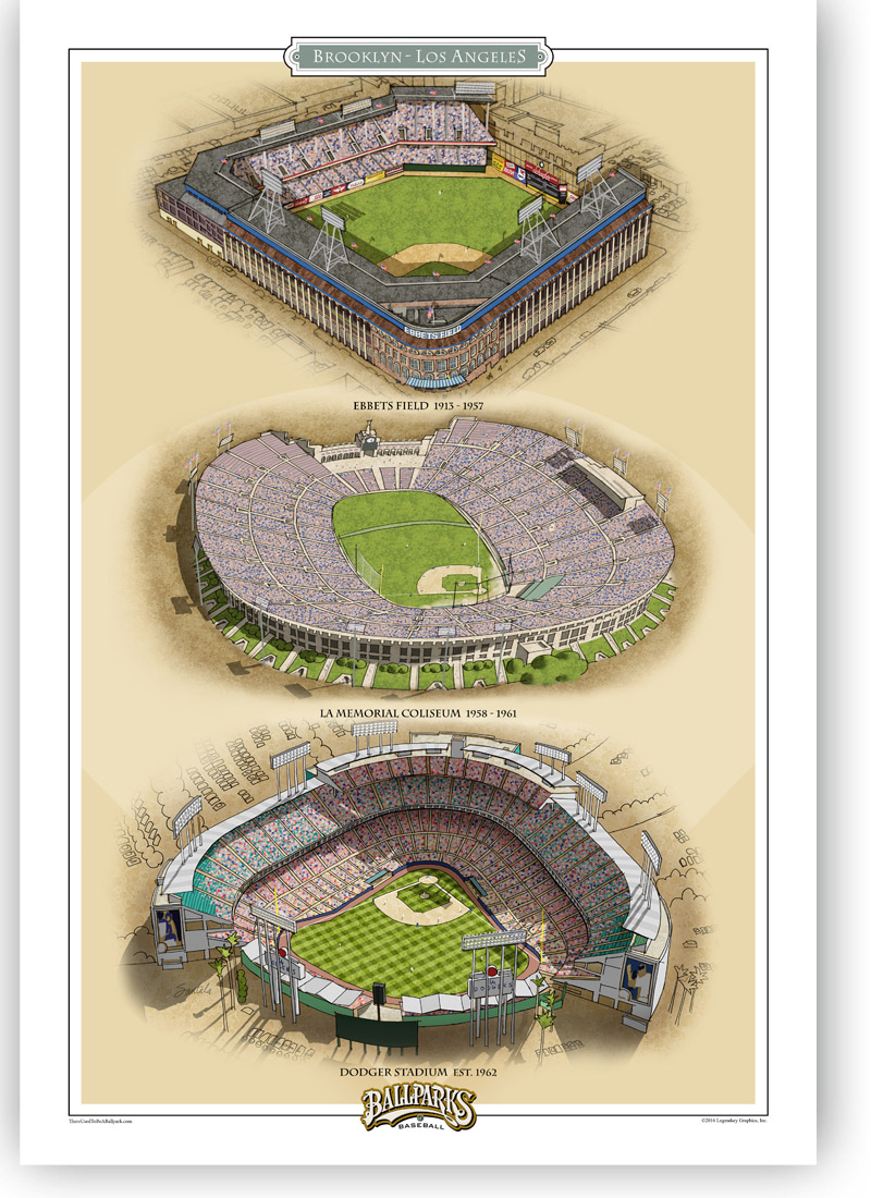 13x19 print featuring Ebbets Field, LA Coliseum and Dodger Stadium
