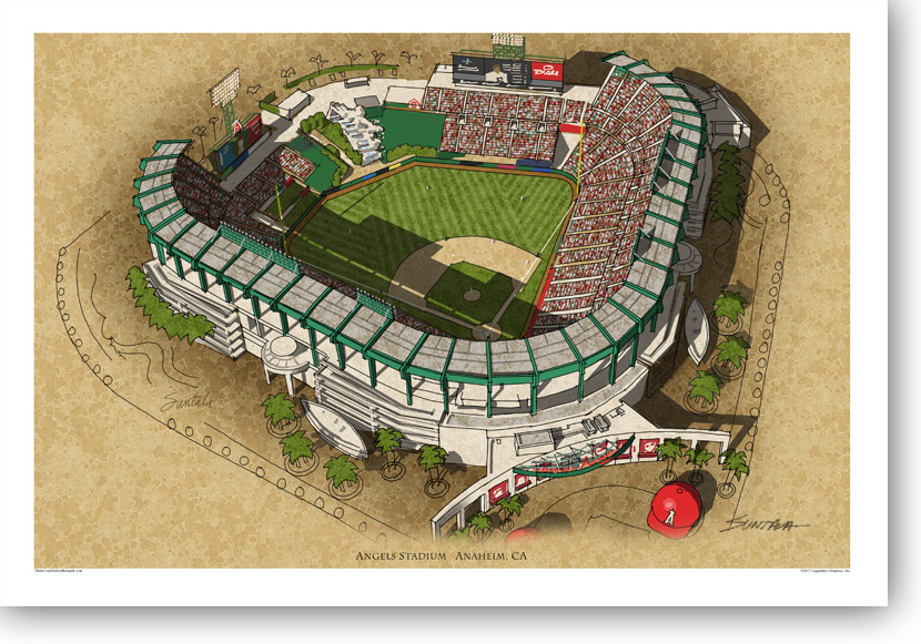 13x19 archival print of Angels Stadium