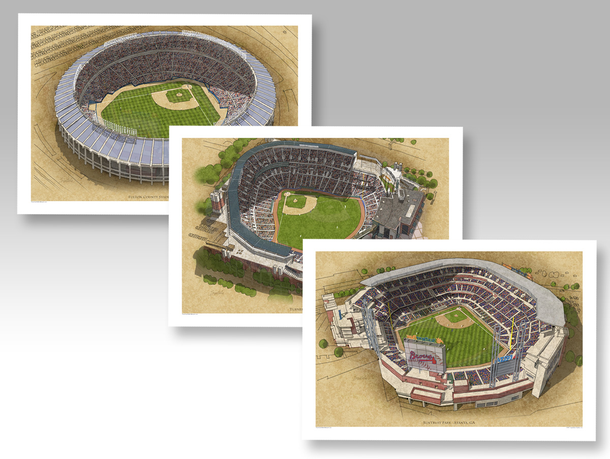 all 3 Atlanta Braves parks in individual 13x19 prints