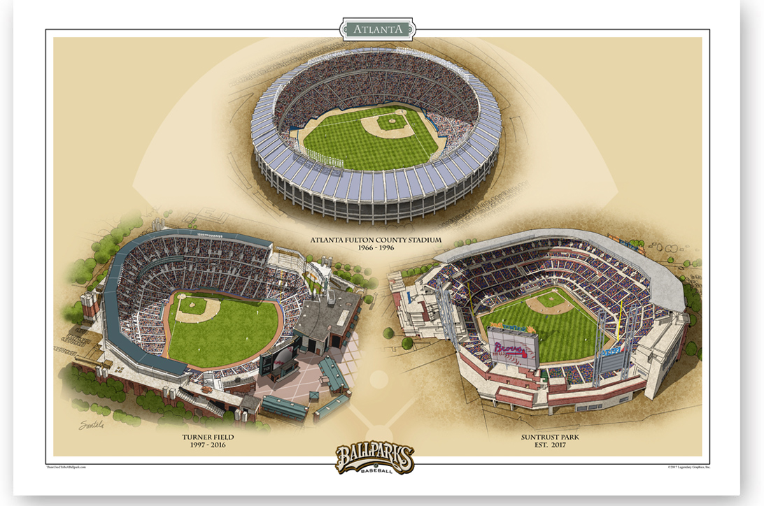 13x19 archival print of all three Atlanta ballparks