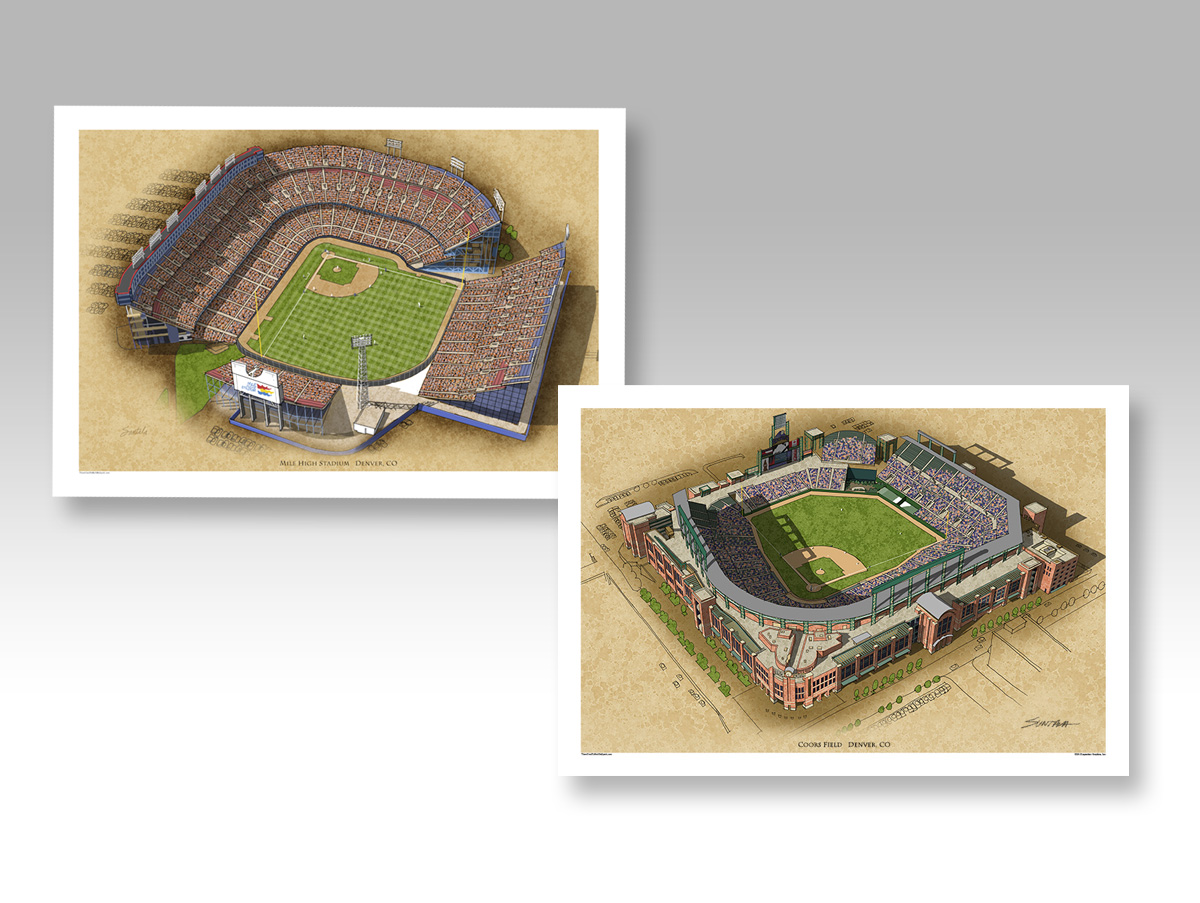 Both Colorado Rockies ballparks in separate 13 x 19 prints.