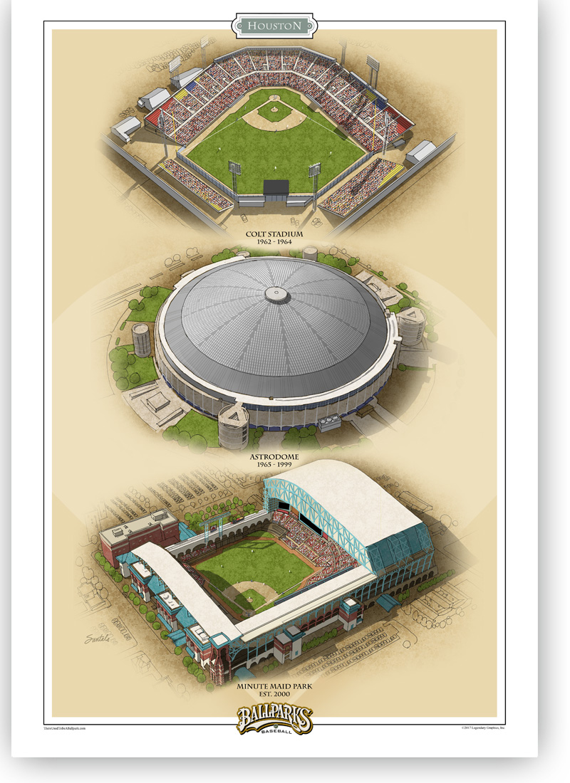 13x19 print featuring all three Houston ballparks signed in pencil by the artist.