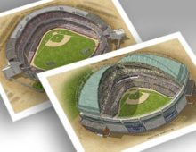 Thumbnail of 13x19 prints of both Milwaukee ballparks.