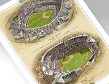 Thumbnail of 13x19 print featuring both San Diego MLB ballparks
