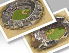 Thumbnail of 23x29 prints of both San Diego Padres ballparks.