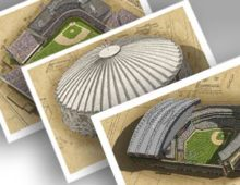 Thumbnail showing 3 13x19 prints of Seattle ballparks.