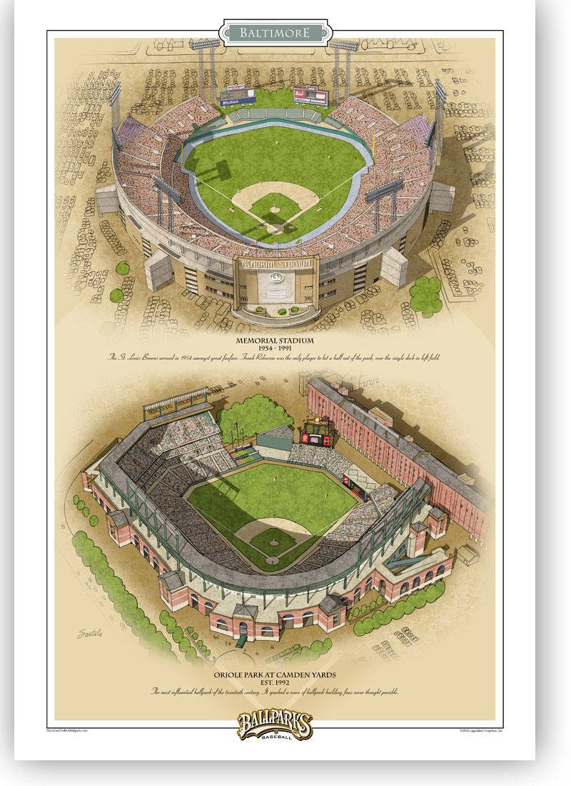 13x19 archival print featuring Memorial Stadium and Oriole Park at Camden Yards