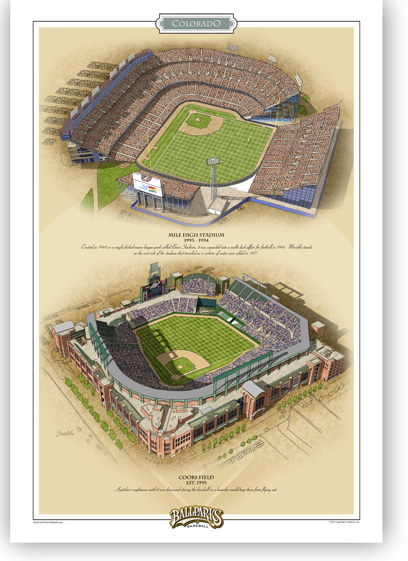 13x19 print featuring both Colorado Rockies ballparks