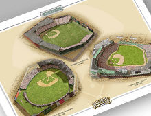 Thumbnail of print featuring all three Boston Red Sox ballparks.