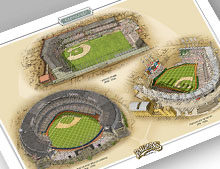 Thumbnail of 13x19 print featuring 3 Cleveland ballparks.