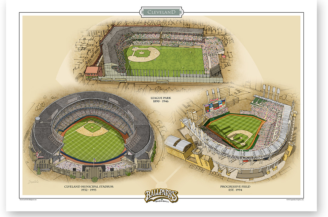 13 x 19 archival print of 3 Cleveland ballparks