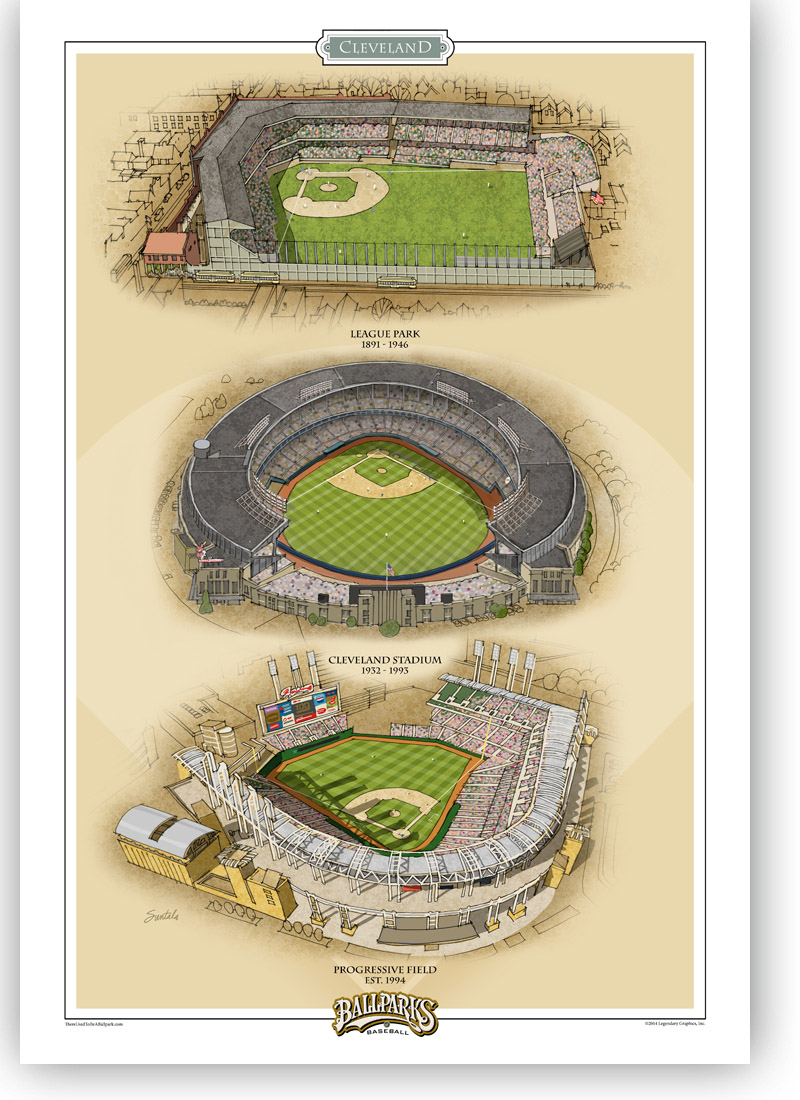 3 Cleveland ballparks in one 13x19 archival print