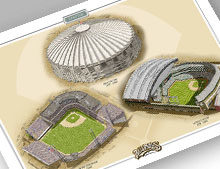 Thumbnail showing 13x19 print of all three Seattle ballparks.