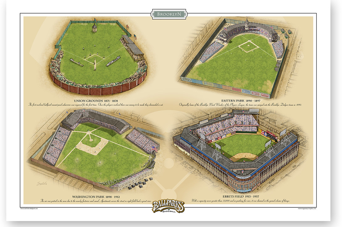 "All four Brooklyn ballparks in one 13"" x 19"" print"