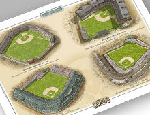 Thumbnail of print featuring Chicago Cubs ballparks.