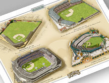 Thumbnail of 13x19 print featuring 4 Detroit ballparks.