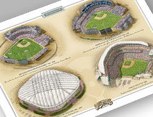 "Thumbnail of 13"" x 19"" print featuring four Minnesota ballparks"